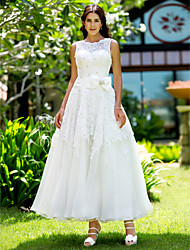 cheap -A-Line Wedding Dresses Bateau Neck Ankle Length Lace Regular Straps Little White Dress with Appliques 2021
