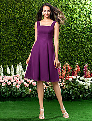cheap -A-Line Straps Knee Length Chiffon Bridesmaid Dress with Draping