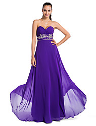 cheap -Ball Gown Open Back Prom Formal Evening Military Ball Dress Strapless Sweetheart Neckline Sleeveless Floor Length Chiffon with Criss Cross Beading Sequin 2020