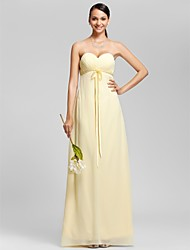 cheap -Sheath / Column Strapless / Sweetheart Neckline Floor Length Chiffon Bridesmaid Dress with Bow(s) / Criss Cross