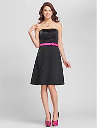 cheap -Princess / A-Line Strapless / Spaghetti Strap Knee Length Satin Bridesmaid Dress with Sash / Ribbon / Bow(s)