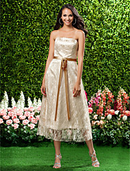cheap -Princess / A-Line Strapless Tea Length Lace Bridesmaid Dress with Lace / Sash / Ribbon / Bow(s) / Open Back