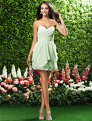 cheap -Sheath / Column Strapless / Sweetheart Neckline Short / Mini Chiffon Bridesmaid Dress with Criss Cross / Draping