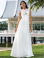 cheap -Sheath / Column Wedding Dresses Illusion Neck Floor Length Chiffon Sleeveless See-Through with Ruched Crystal Floral Pin 2020
