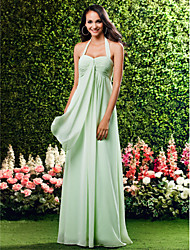 cheap -Sheath / Column Halter Neck / Sweetheart Neckline Floor Length Chiffon Bridesmaid Dress with Criss Cross