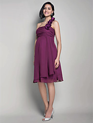 cheap -Princess / A-Line One Shoulder Knee Length Chiffon Bridesmaid Dress with Ruched / Flower