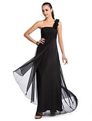cheap -A-line One-shoulder Floor-length Chiffon Evening Dress