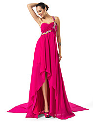cheap -Sheath / Column High Low Formal Evening Dress One Shoulder Sweetheart Neckline Sleeveless Asymmetrical Chiffon with Criss Cross Beading Draping 2021