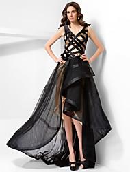 cheap -Ball Gown Formal Evening Military Ball Dress V Neck Sleeveless Asymmetrical Floor Length Satin Tulle with Sash / Ribbon Bow(s) Crystal Brooch 2021