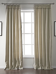 cheap -Two Panels Curtain Modern , Solid Living Room Linen / Cotton Blend Material Curtains Drapes Home Decoration For Window