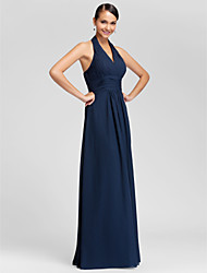 cheap -Sheath / Column V Neck / Halter Neck Floor Length Chiffon Bridesmaid Dress with Draping / Criss Cross / Ruched