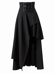 cheap -Steampunk Gothic Lolita Dress Steampunk Punk Rave Asymmetric Cotton Women's Skirt Cosplay Black Medium Length Costumes