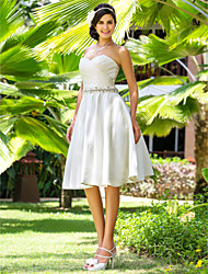 cheap -A-Line Wedding Dresses Sweetheart Neckline Knee Length Satin Strapless Country Beach Little White Dress Plus Size with Sash / Ribbon Beading Criss-Cross 2020