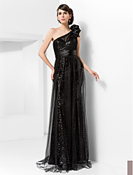 cheap -Trumpet/Mermaid One Shoulder Sweep/Brush Train Tulle And Sequined Evening Dress