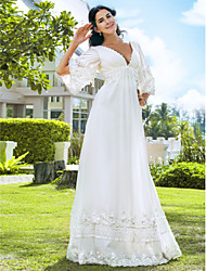 cheap -A-Line V Neck Floor Length Chiffon 3/4 Length Sleeve Vintage Inspired Made-To-Measure Wedding Dresses with Beading 2020 / Illusion Sleeve