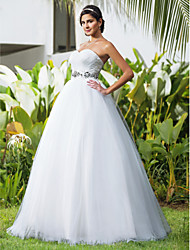 cheap -Ball Gown Wedding Dresses Sweetheart Neckline Floor Length Tulle Sleeveless Open Back with Beading Criss-Cross 2021
