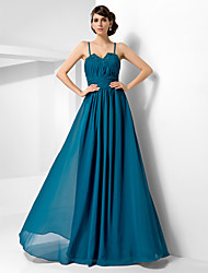 cheap -Ball Gown Open Back Formal Evening Military Ball Dress Sweetheart Neckline Spaghetti Strap Sleeveless Floor Length Chiffon with Ruched Beading Draping 2021