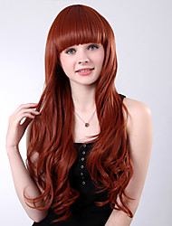 cheap -Capless Long Red Curly High Quality Synthetic Full Bang Wings