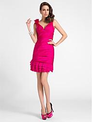 cheap -Sheath / Column Homecoming Cocktail Party Dress V Neck Sleeveless Short / Mini Taffeta with Pleats Side Draping Flower 2021