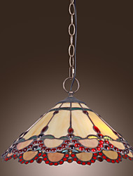 cheap -Tiffany Pendant Light with 2 Lights in Warm Light Red Edge