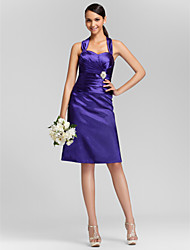 cheap -Sheath / Column Straps / Sweetheart Neckline Knee Length Stretch Satin Bridesmaid Dress with Criss Cross / Ruched / Crystal Brooch