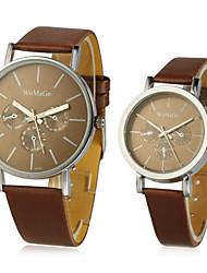 cheap -Men's Women's Couple's Fashion Watch Black / White / Brown Tile Wrist Watch - White Black Coffee