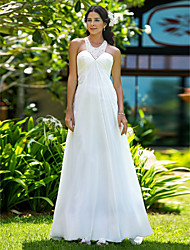 cheap -Sheath / Column Jewel Neck Sweep / Brush Train Chiffon Regular Straps Made-To-Measure Wedding Dresses with Beading / Side-Draped 2020