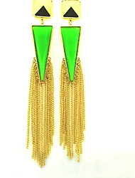 cheap -Women's Fashion Geometric Gemstones Studs with Tassel
