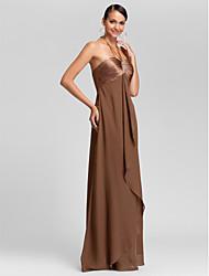 cheap -Sheath / Column Halter Neck / Sweetheart Neckline Floor Length Chiffon Bridesmaid Dress with Criss Cross / Beading / Draping