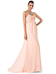 cheap -Sheath / Column Elegant Prom Formal Evening Military Ball Dress Sweetheart Neckline Spaghetti Strap Sleeveless Sweep / Brush Train Chiffon with Criss Cross Ruched Beading 2021