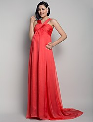 cheap -A-Line Straps Sweep / Brush Train Chiffon Formal Evening Dress with Draping Criss Cross by TS Couture®