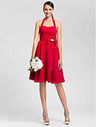 cheap -Princess / A-Line Halter Neck Knee Length Chiffon Bridesmaid Dress with Bow(s) / Ruched / Draping / Open Back