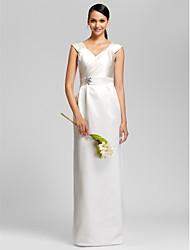 cheap -Sheath / Column V Neck Floor Length Satin Bridesmaid Dress with Sash / Ribbon / Beading