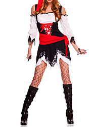 cheap -Sexy Cool Black and Red Polyester Pirate Woman Costume(5 Pieces)