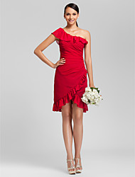 cheap -Sheath / Column One Shoulder Asymmetrical / Knee Length Chiffon Bridesmaid Dress with Ruffles / Side Draping