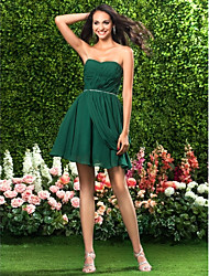 cheap -Ball Gown Holiday Homecoming Cocktail Party Dress Sweetheart Neckline Strapless Sleeveless Short / Mini Chiffon with Criss Cross Beading Draping 2021