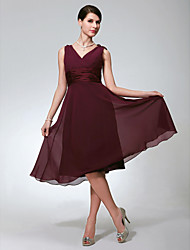 cheap -A-Line V Neck Knee Length Chiffon Bridesmaid Dress with Ruched