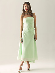 cheap -Sheath / Column Strapless Asymmetrical / Tea Length Chiffon Bridesmaid Dress with Ruched / Ruffles