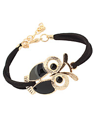 cheap -Women's Charm Bracelet Vintage Bracelet Leather Bracelet Owl Ladies Vintage Basic Cute Leather Bracelet Jewelry Black / Red / Blue For Christmas Gifts Daily Casual Sports / Feather