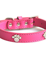 cheap -Dog Collar Adjustable / Retractable Soft Footprint / Paw Genuine Leather Red Blue Pink