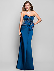 cheap -Mermaid / Trumpet Formal Evening Military Ball Dress Sweetheart Neckline Sleeveless Floor Length Satin with Bow(s) Criss Cross Beading 2021