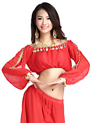 cheap -Belly Dance Tops Women's Training Chiffon Coin Long Sleeve / 60cm Top / Performance