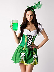 cheap -Nifty Girl Green and White Cotton Dress Beer Servant Costume (2 Pieces)