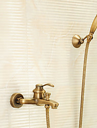 cheap -Shower Faucet - Antique Antique Brass Tub And Shower Brass Valve Bath Shower Mixer Taps / Single Handle Two Holes