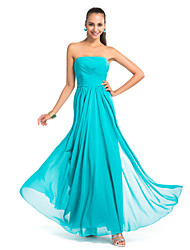 cheap -Sheath / Column Open Back Formal Evening Wedding Party Military Ball Dress Strapless Sleeveless Floor Length Chiffon with Ruched Draping 2021