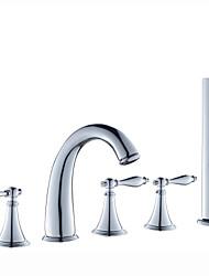 cheap -Bathtub Faucet - Contemporary Chrome Roman Tub Ceramic Valve Bath Shower Mixer Taps / Three Handles Five Holes