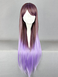 cheap -Elegent Fairy Zipper Brown and Purple Mixed Color 80cm Princess Lolita Wig