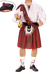 cheap -Scottish Cosplay Costume Party Costume Men's Halloween Carnival New Year Festival / Holiday Polyurethane Leather Terylene Red / White Carnival Costumes Plaid