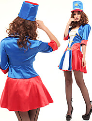 cheap -Color Block and Pleated Design Honour Guard Costume for Women