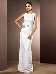 cheap -Sheath / Column Wedding Dresses Bateau Neck Floor Length Chiffon Sleeveless with 2021